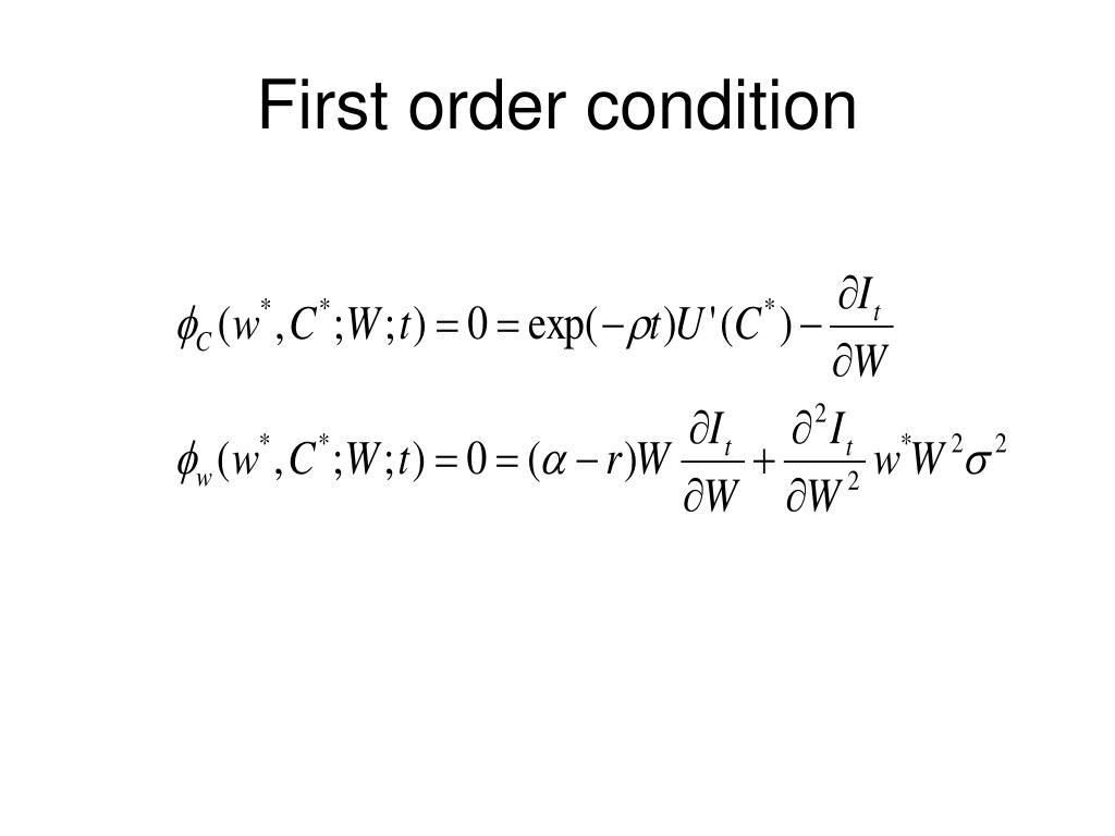 First order condition