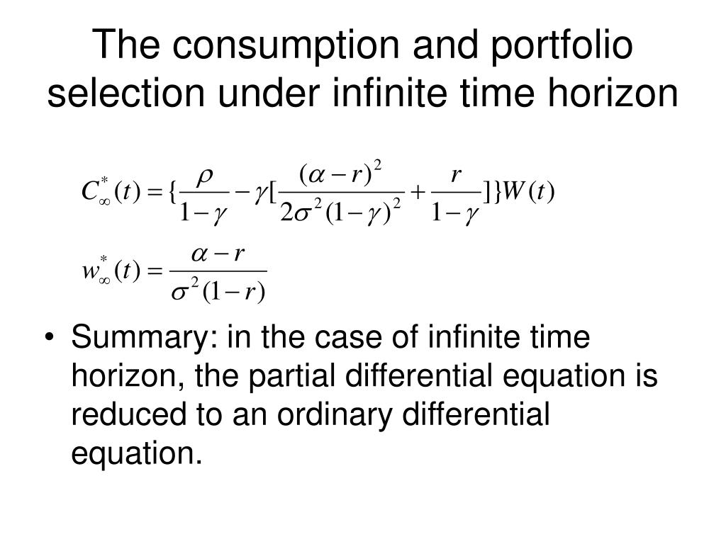 The consumption and portfolio selection under infinite time horizon