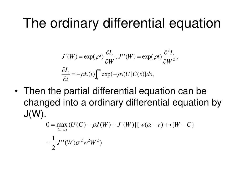 The ordinary differential equation