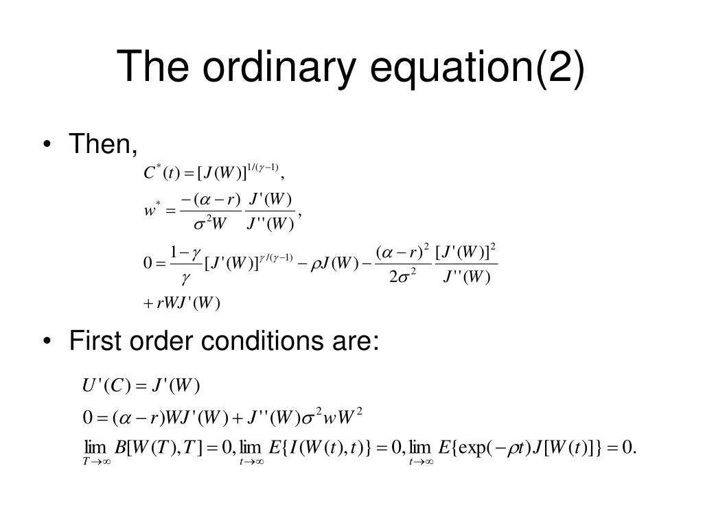 The ordinary equation(2)