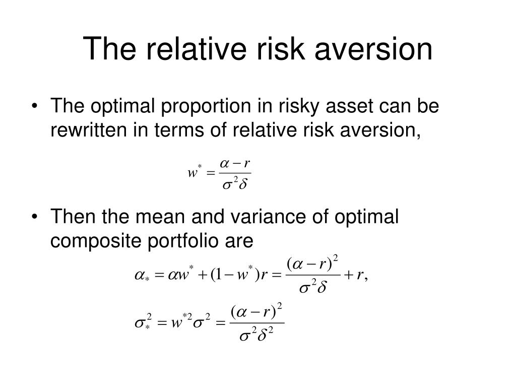 The relative risk aversion