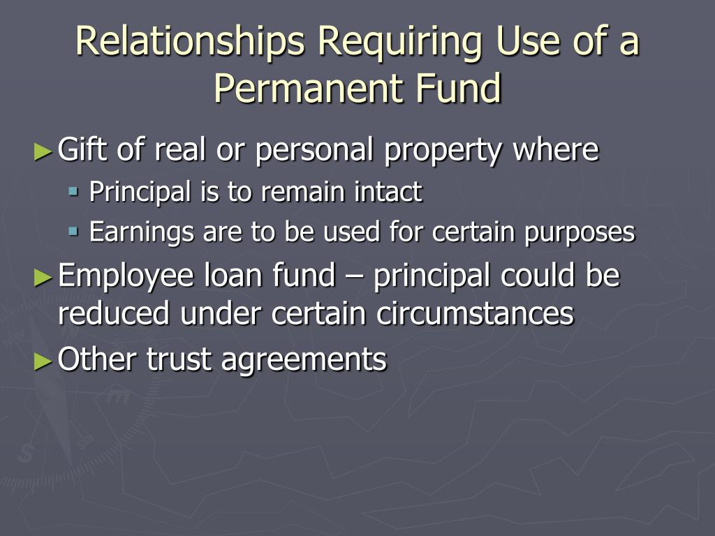 Relationships Requiring Use of a Permanent Fund