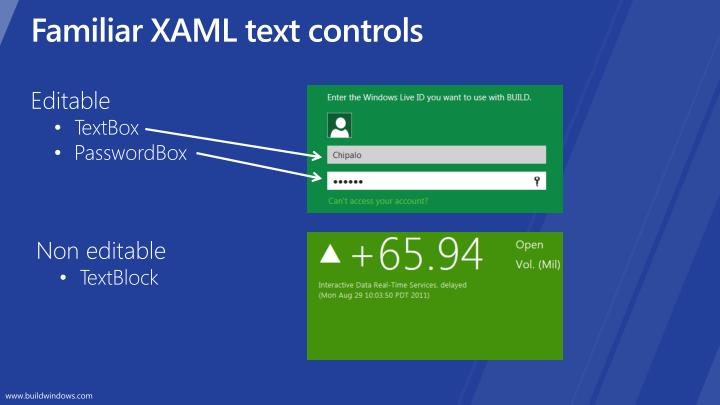 Familiar xaml text controls