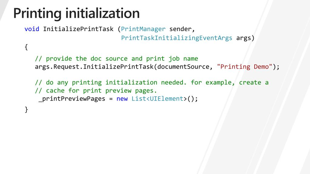 Printing initialization
