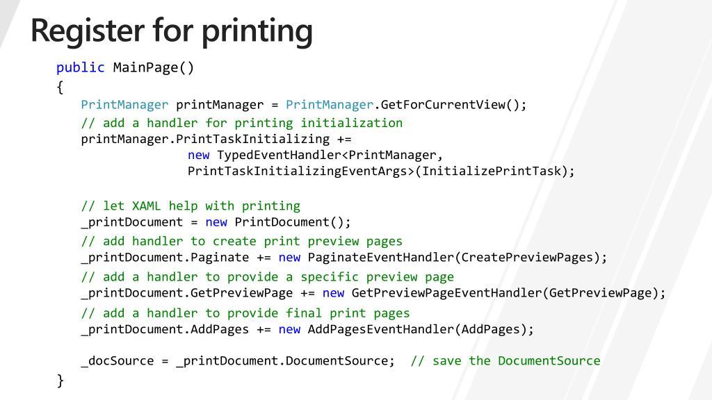 Register for printing