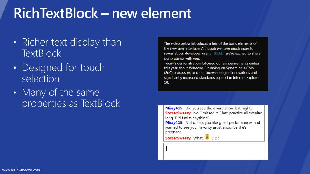 RichTextBlock – new element
