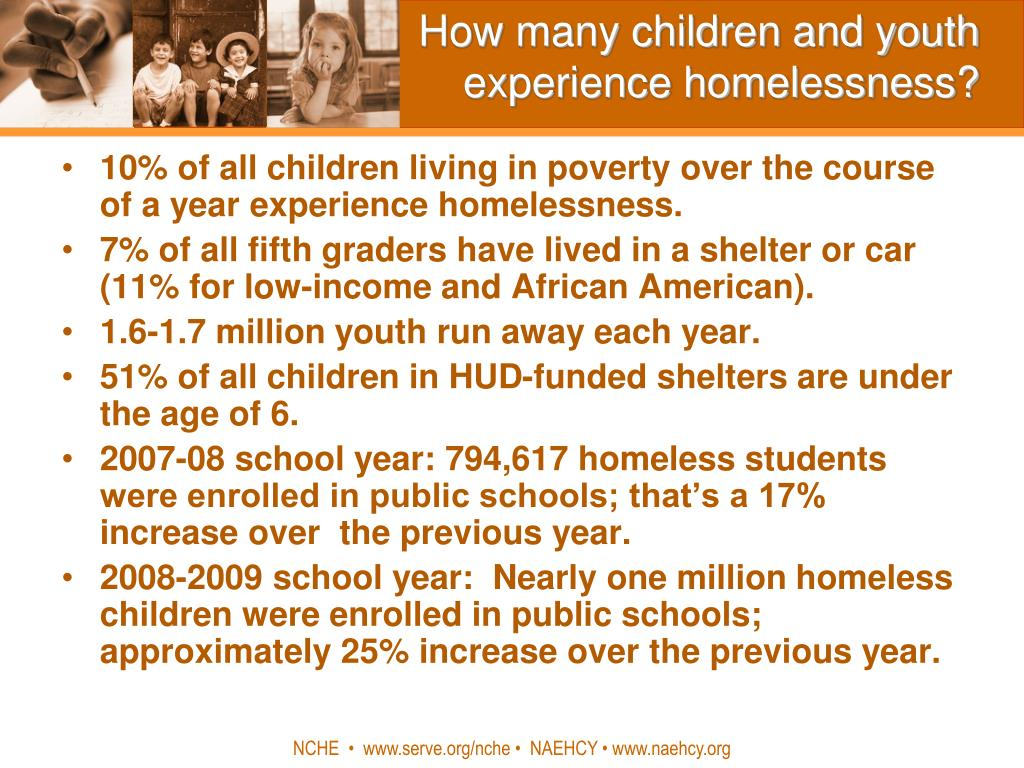 How many children and youth experience homelessness?