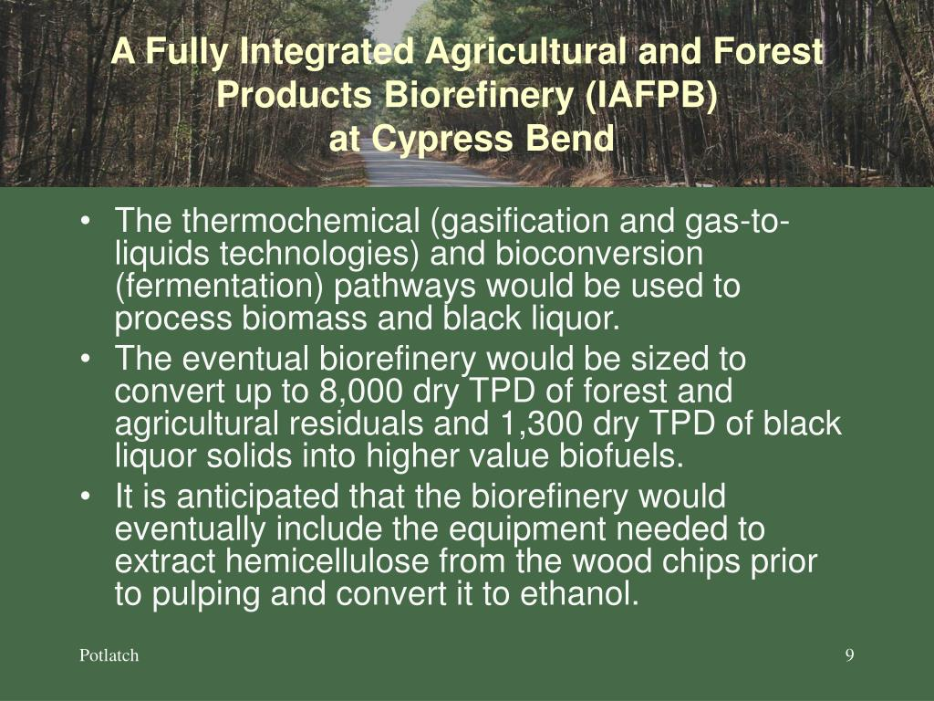 A Fully Integrated Agricultural and Forest Products Biorefinery (IAFPB)
