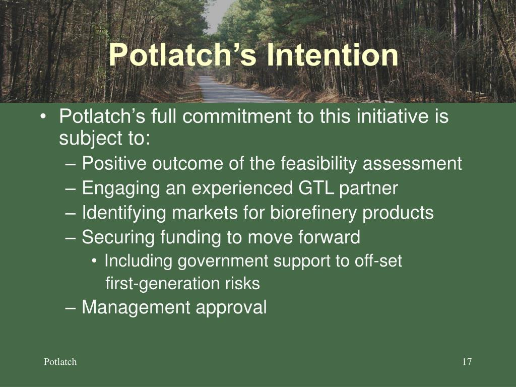 Potlatch's Intention