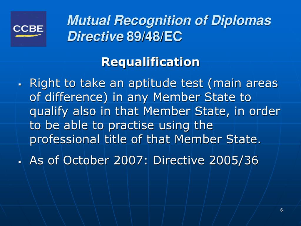 Mutual Recognition of Diplomas