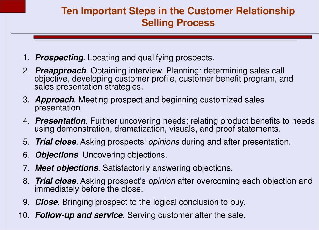 Ten Important Steps in the Customer Relationship Selling Process