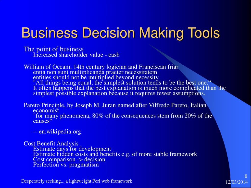 Business Decision Making Tools