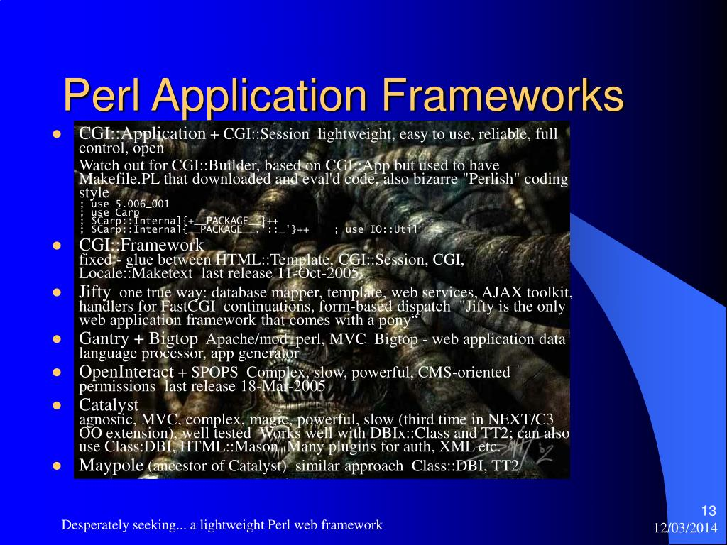 Perl Application Frameworks