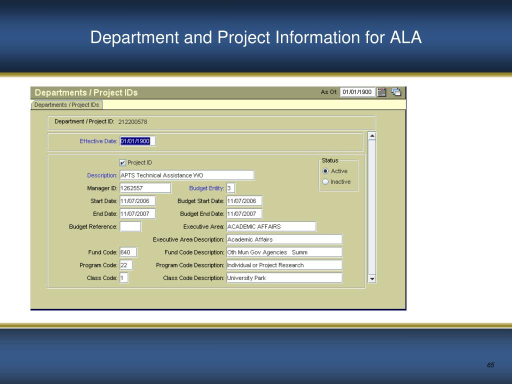 Department and Project Information for ALA