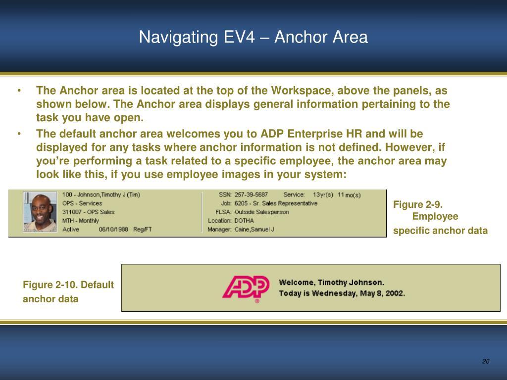 Navigating EV4 – Anchor Area