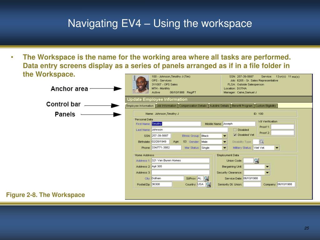 Navigating EV4 – Using the workspace