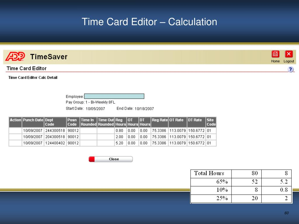 Time Card Editor – Calculation