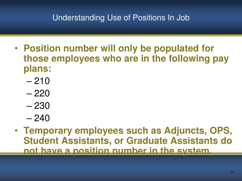 Understanding Use of Positions In Job