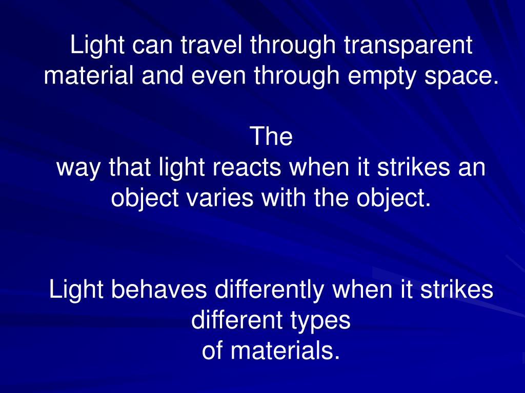 Light can travel through transparent material and even through empty space.