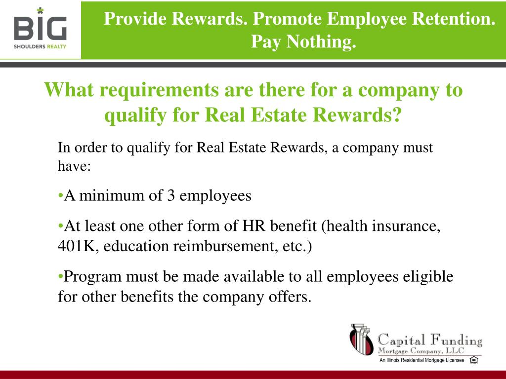 What requirements are there for a company to qualify for Real Estate Rewards?