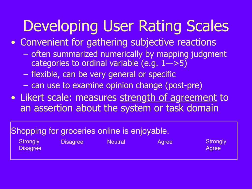Developing User Rating Scales