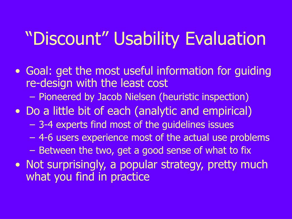 """Discount"" Usability Evaluation"