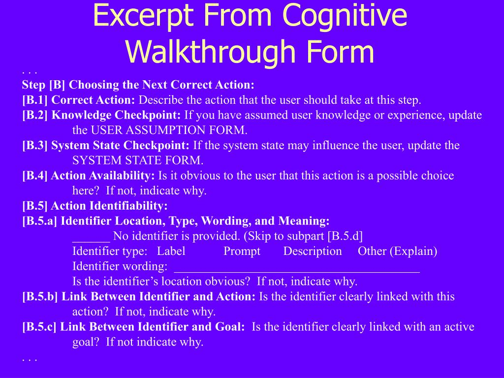 Excerpt From Cognitive Walkthrough Form
