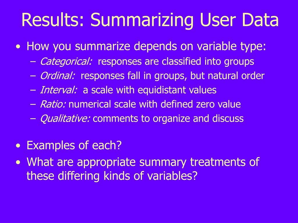 Results: Summarizing User Data