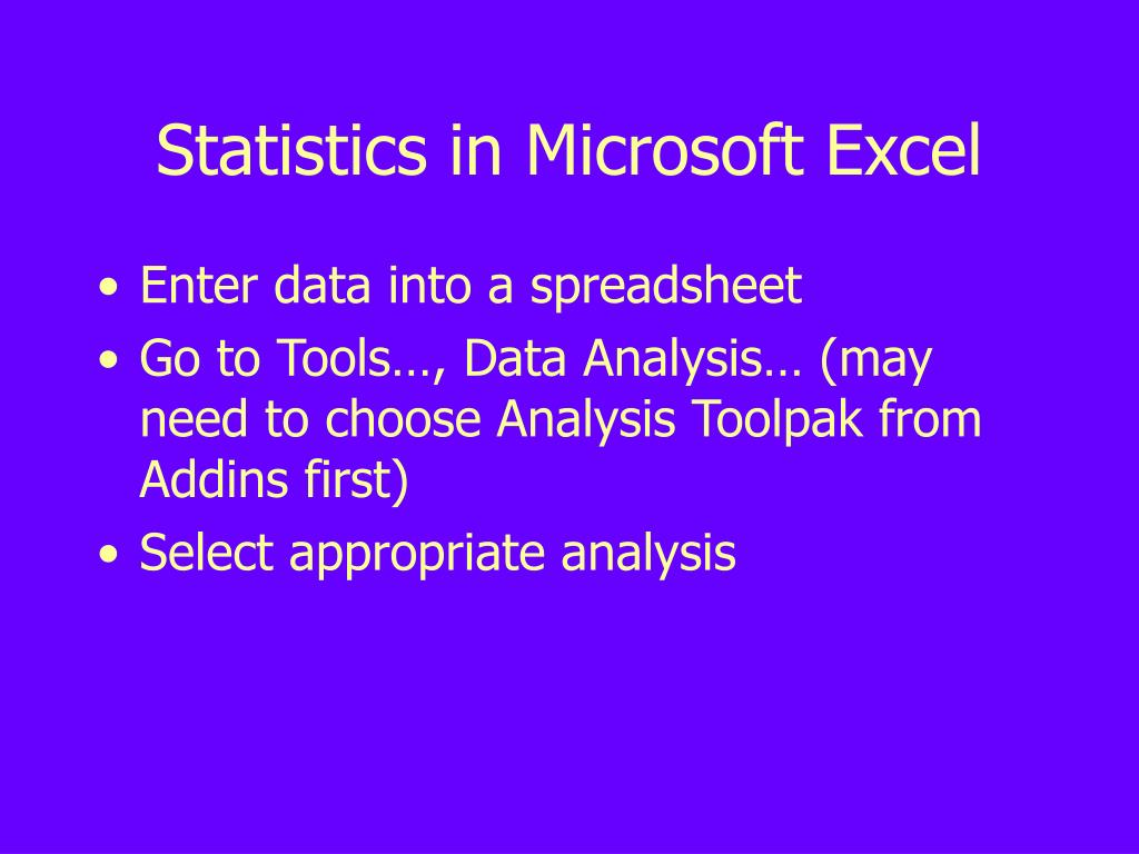 Statistics in Microsoft Excel