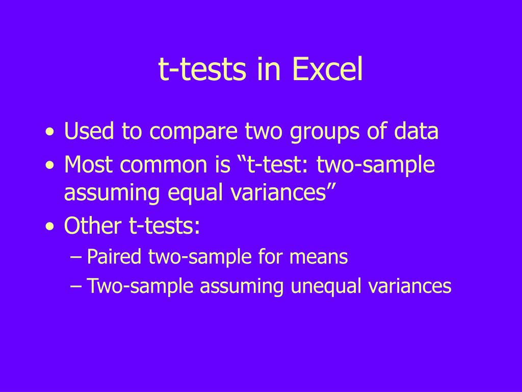 t-tests in Excel