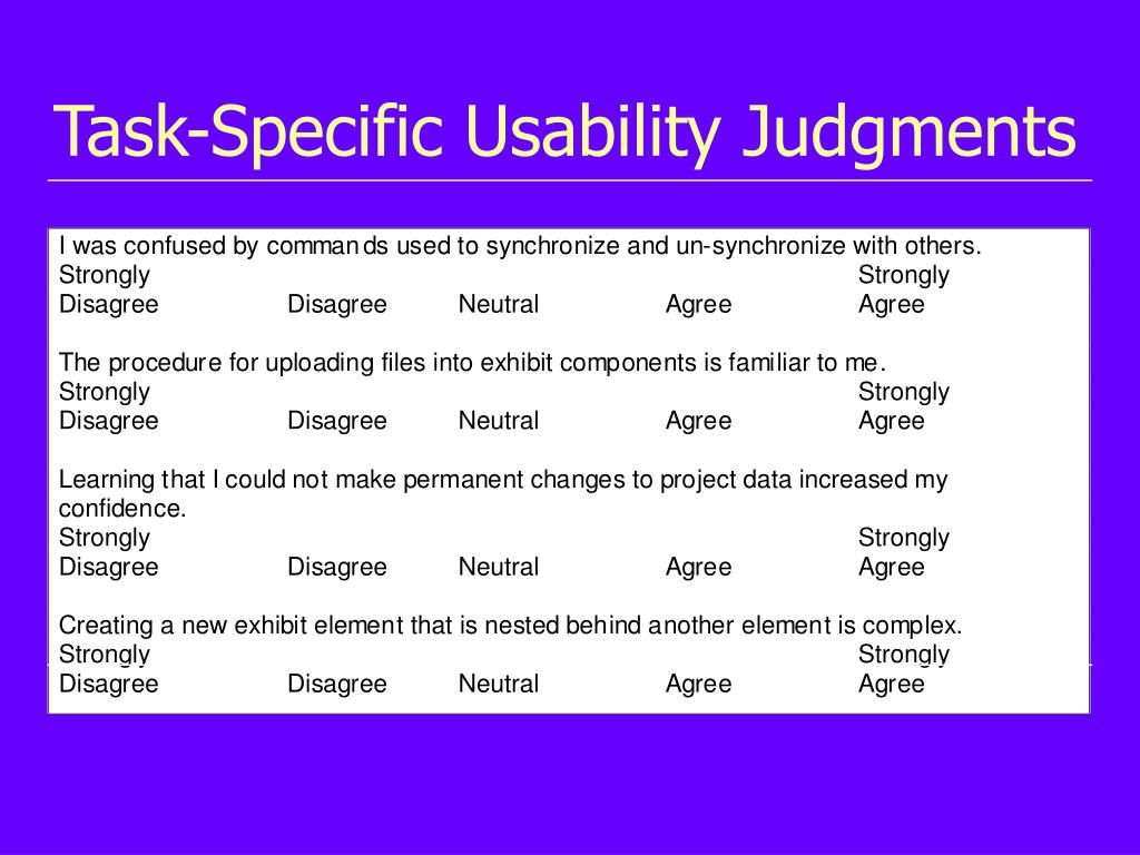 Task-Specific Usability Judgments