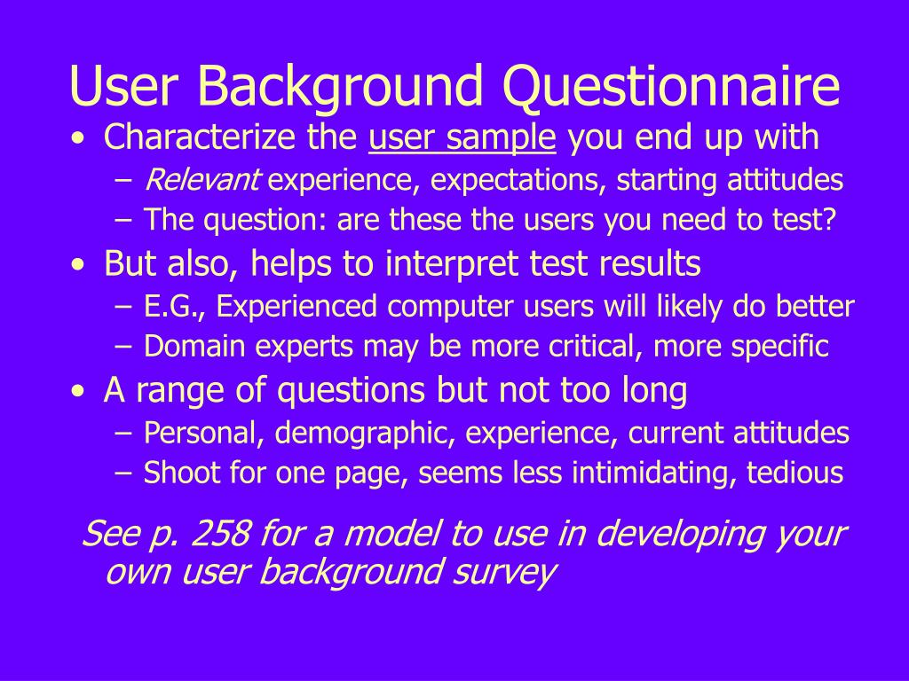 User Background Questionnaire