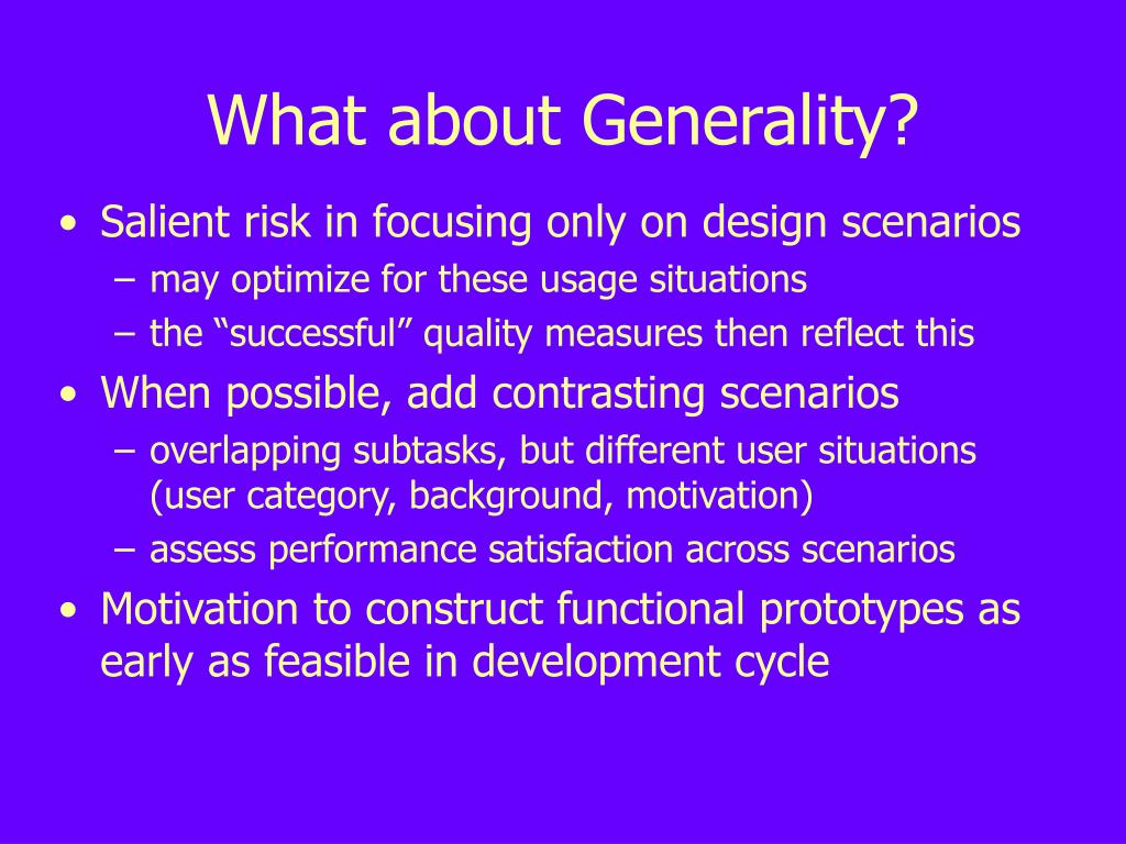 What about Generality?