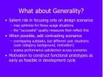 what about generality