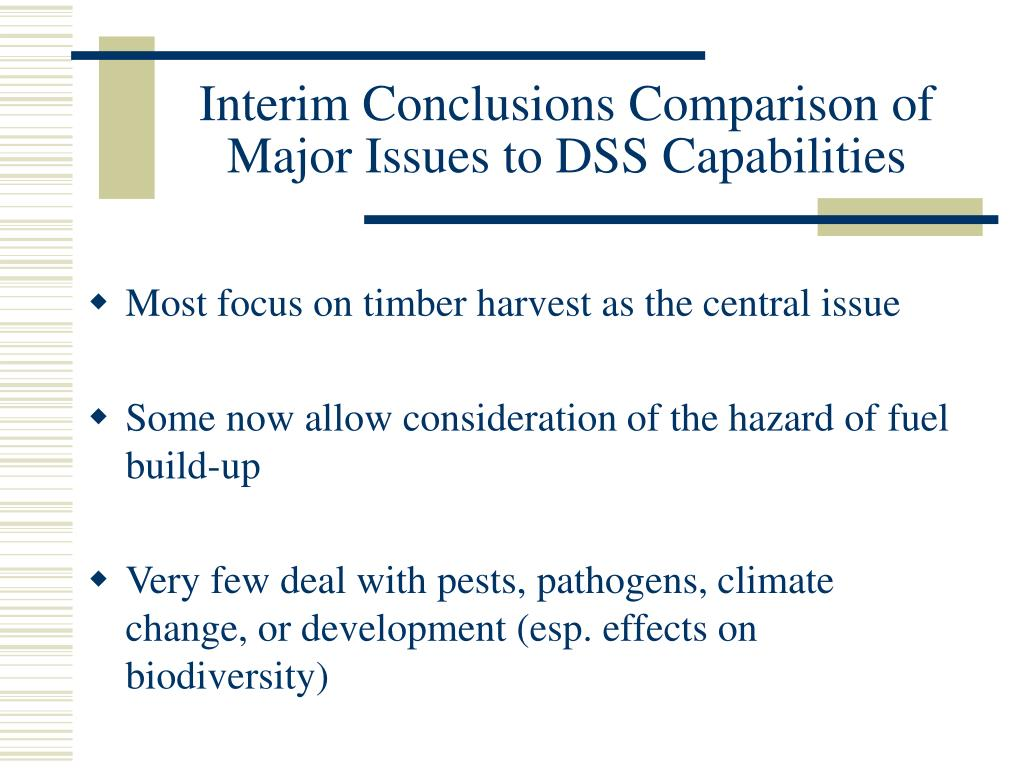 Interim Conclusions