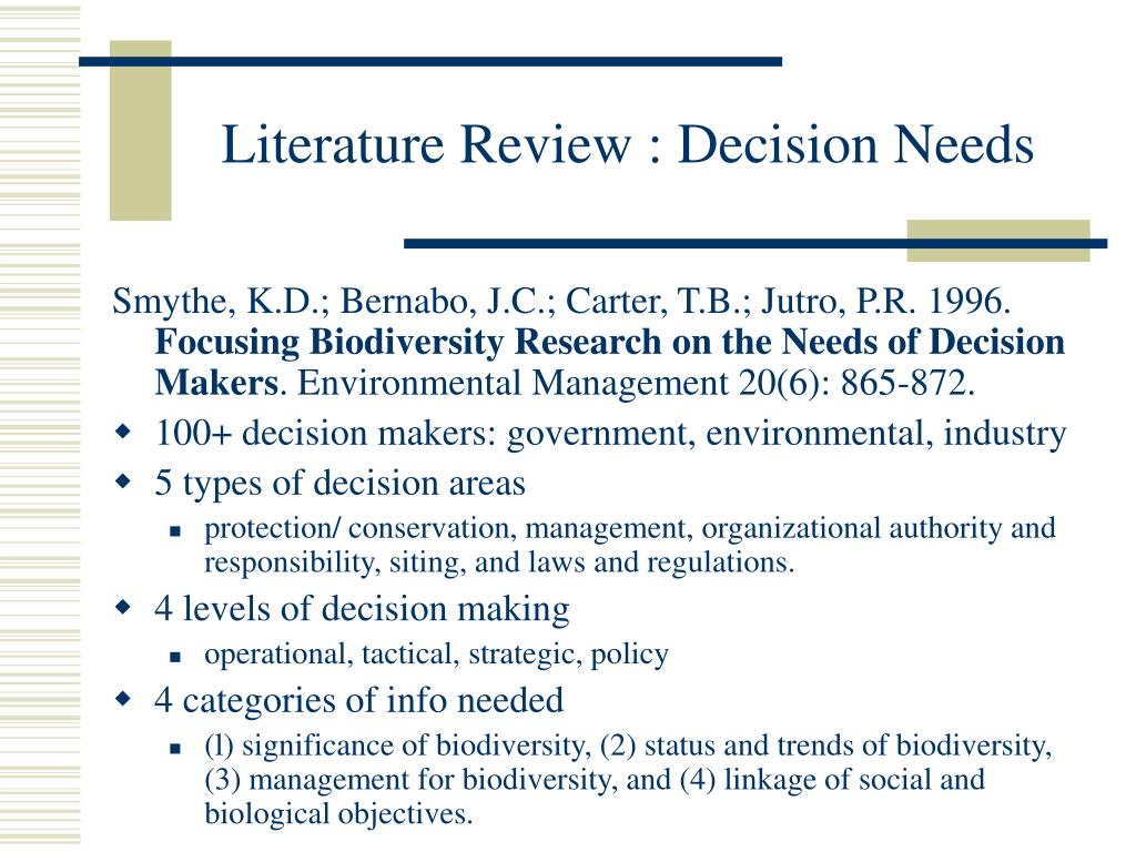 Literature Review : Decision Needs