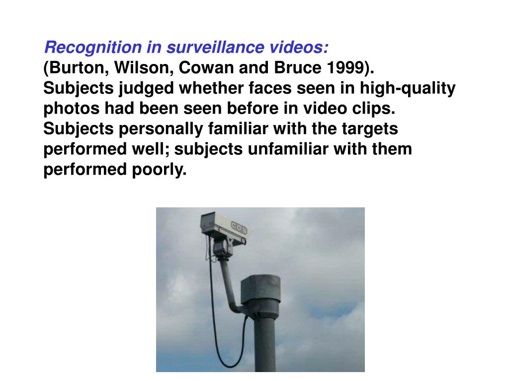 Recognition in surveillance videos: