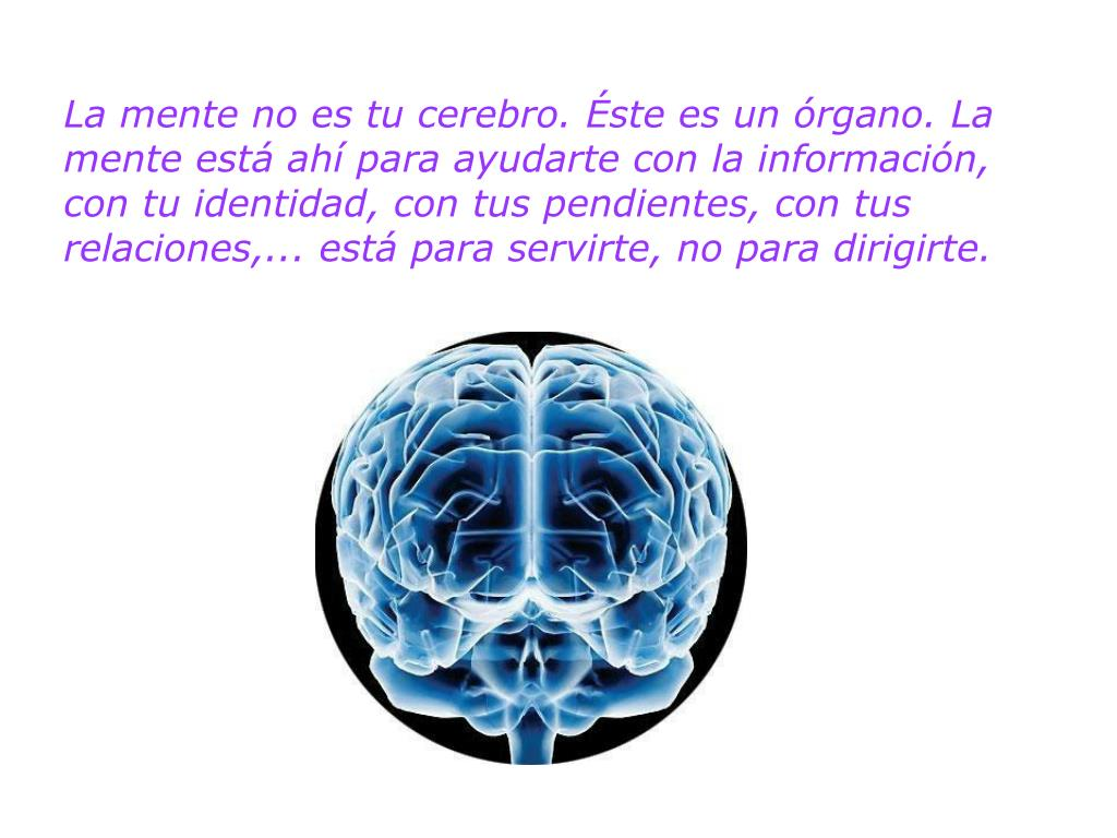 La mente no es tu cerebro. Éste es un órgano. La mente está ahí para ayudarte con la información, con tu identidad, con tus pendientes, con tus relaciones,... está para servirte, no para dirigirte.