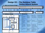 design iii the rainbow table online attack system