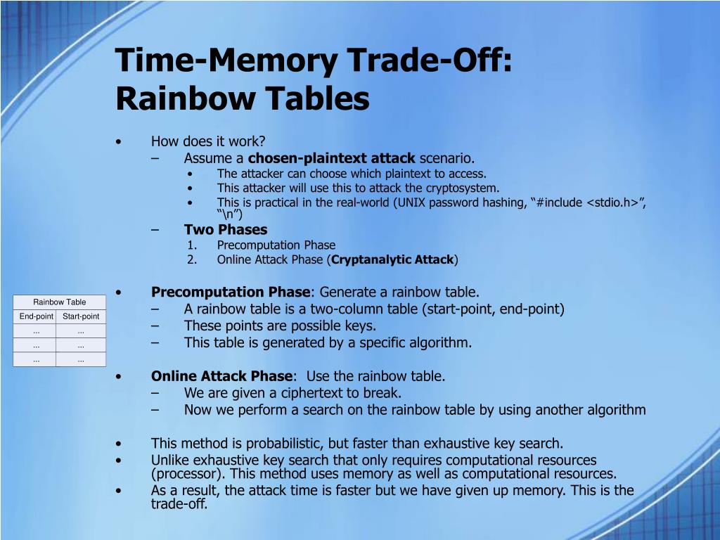 Time-Memory Trade-Off: