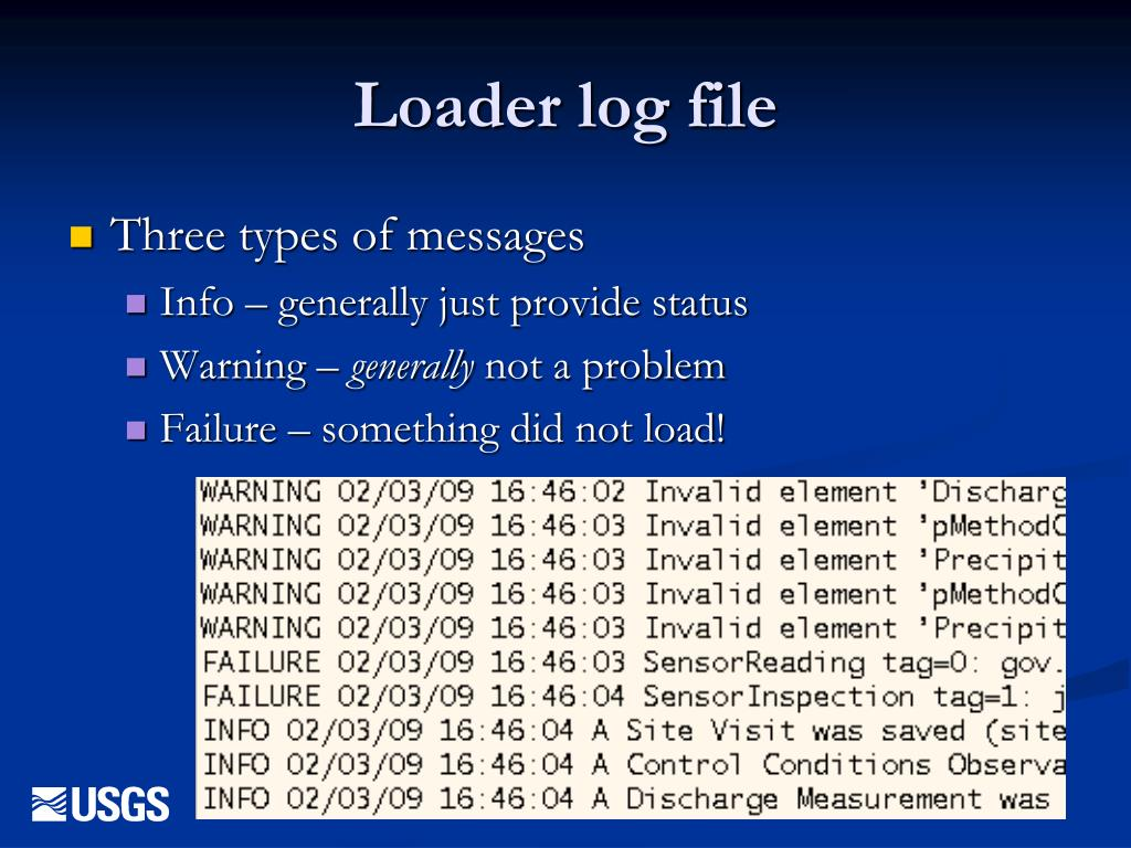 Loader log file