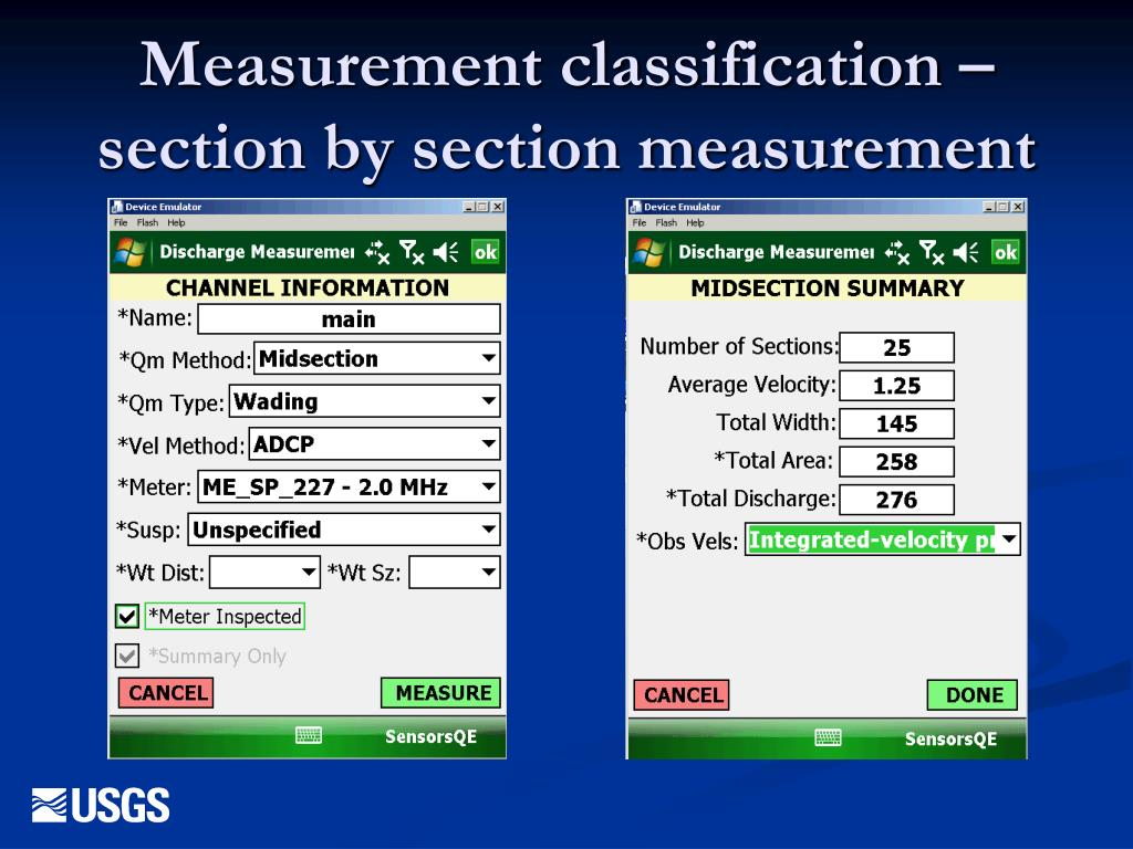 Measurement classification – section by section measurement