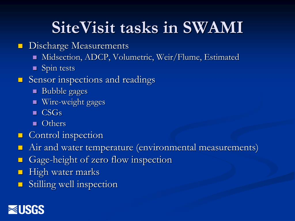 SiteVisit tasks in SWAMI