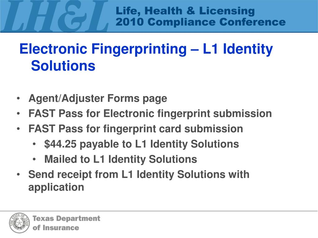 Electronic Fingerprinting – L1 Identity Solutions