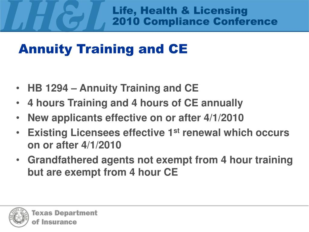 Annuity Training and CE