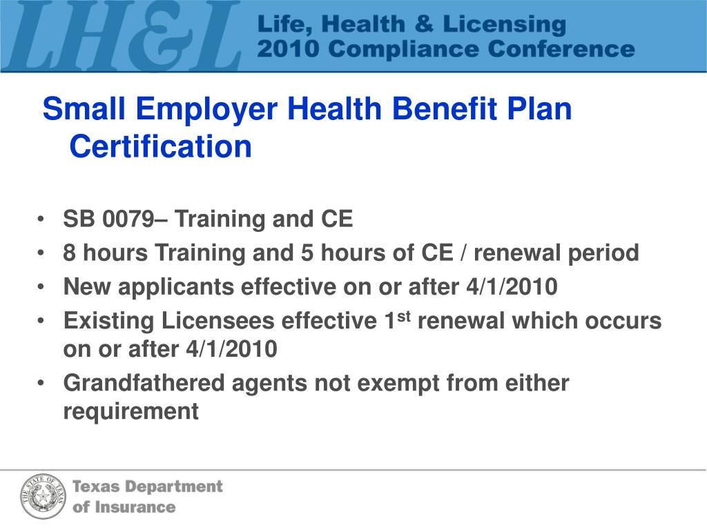 Small Employer Health Benefit Plan Certification