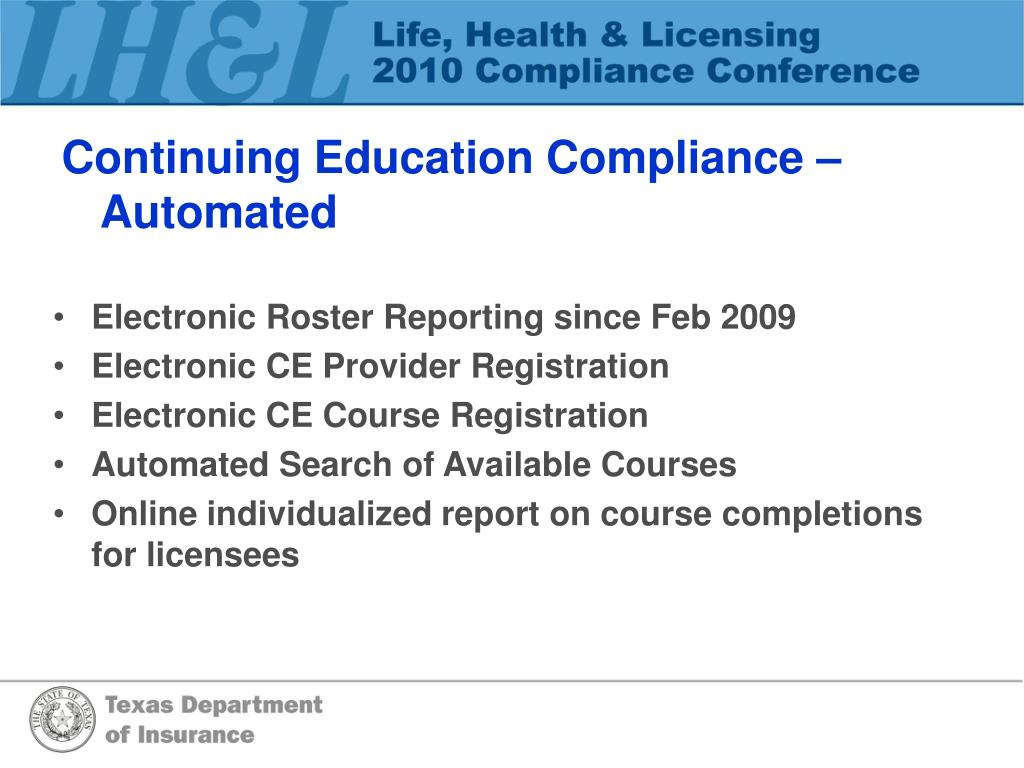 Continuing Education Compliance – Automated