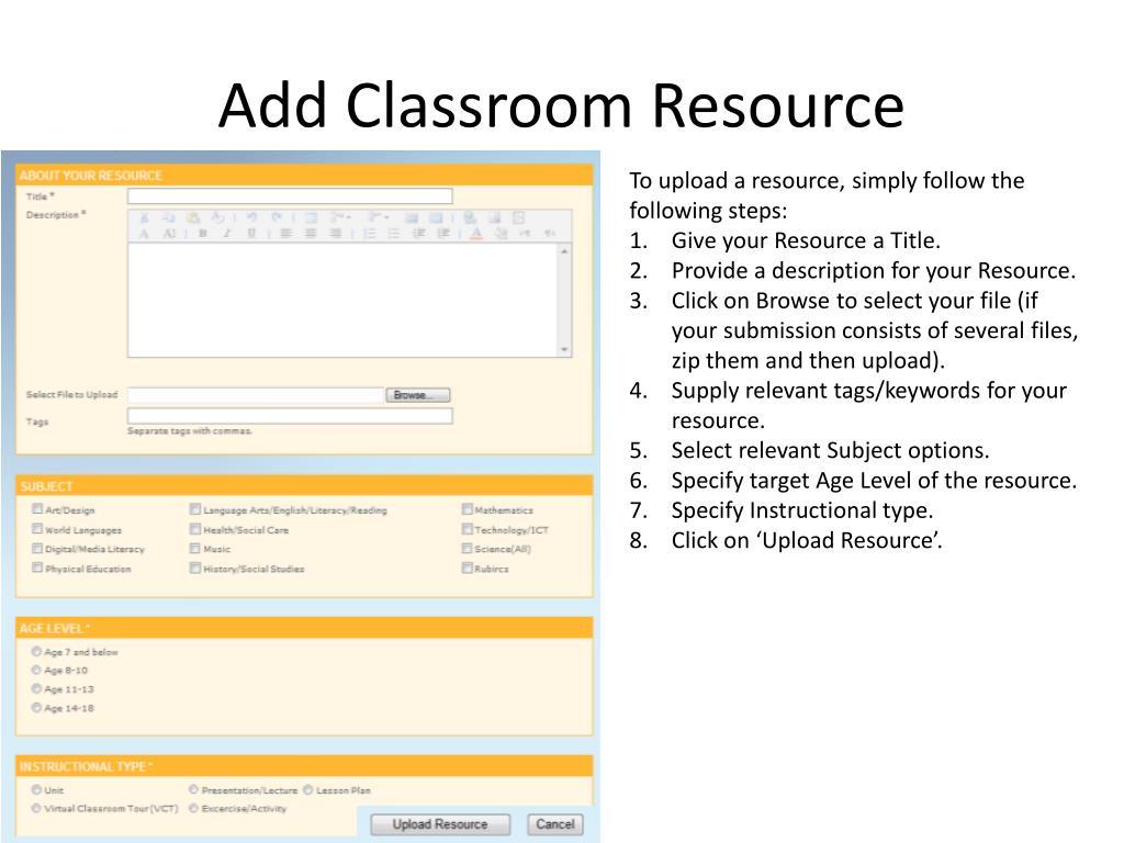 Add Classroom Resource