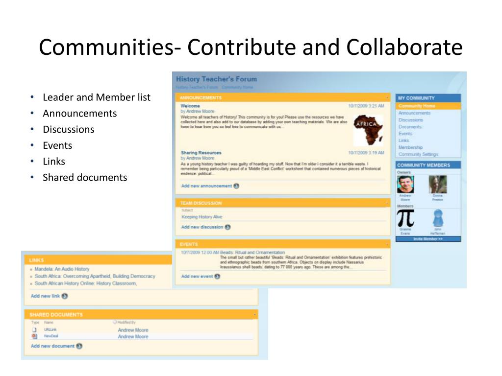 Communities- Contribute and Collaborate