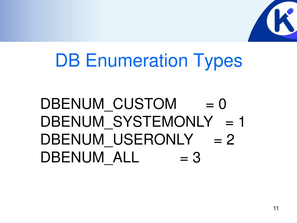 DB Enumeration Types